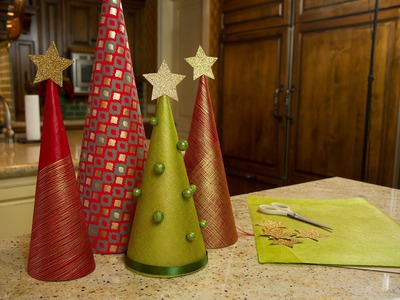 Wrapping Paper Christmas Trees - Let's Craft with ModernMom - 12 Days of Christmas (Day 3)
