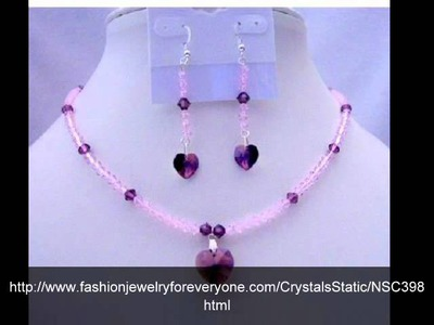 Amethyst Crystals Heart Pendant & Earrings Swarovski Beaded Jewelry by FashionJewelryForEveryone.Com