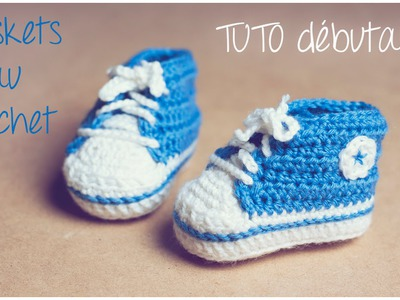 Baskets Converse au crochet (Taille naissance à 12 mois) Partie 2.2 TUTO pour débutants