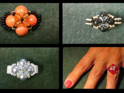Beading4perfectionists : Very basic beginners ring with Swarovski beads beading tutorial
