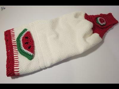 Crochet Decorating Towel Watermelon إضافة الكروشيه للمناشف بطيخ