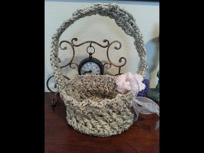 Crochet easy Easter Basket with long handles DIY tutorial