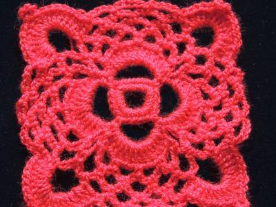 Crochet : Motivo Cuadrado #1. Parte 2 de 2