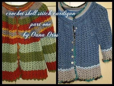 Crochet shell stitch cardigan part one