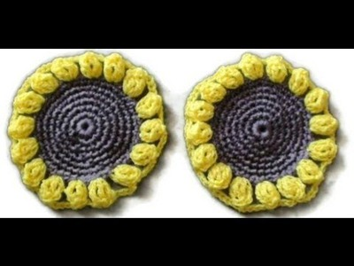 Crochet Sunflower Coaster Part 1 by Crochet Hooks You