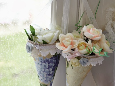 DIY: Cones de caixas de leite, decor happy Easter,  paper flower cone