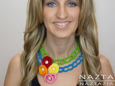 DIY Learn How to Crochet Easy Beginner Chain Flower Statement Necklace Summer Pattern Tutorial