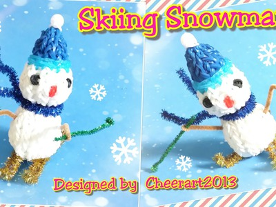 Diy loom bands Skiing Snowman ornament rainbow loom tutorial彩虹橡筋雪人編織教學