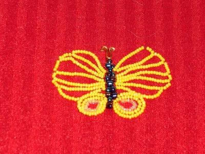 DIY Tutorial de una mariposa de alas libres con chaquiras o mostacillas