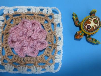 Flor una aplicación de crochet para chal