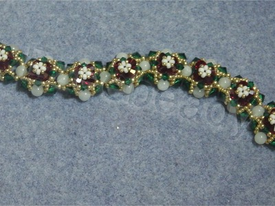 Holly In Snow Bracelet Advanced beading video tutorial by Ezeebeady