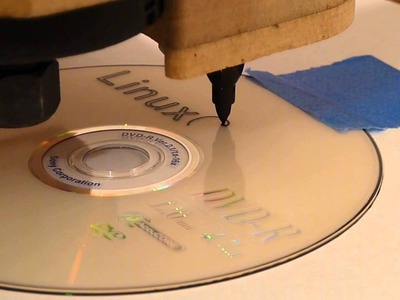 Homemade DIY CNC Router Labeling CD with LinuxCNC 2.5