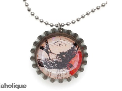 How to Make a Bottle Cap Pendant Necklace Using Epoxy Stickers