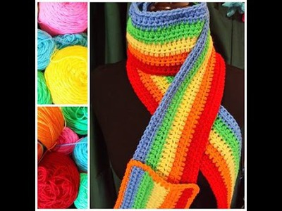 Make a Rainbow Scarf with Pocket: Extra Long and Colorful