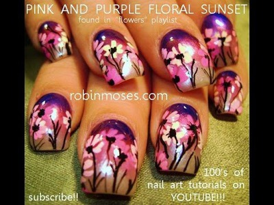 Nail Art Tutorial | Easy Daisy Nails | Purple Ombre Nail Design