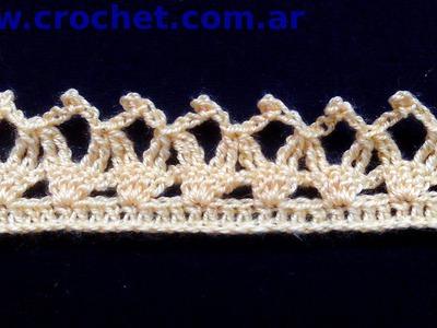 Puntilla N° 23 en tejido crochet tutorial paso a paso.