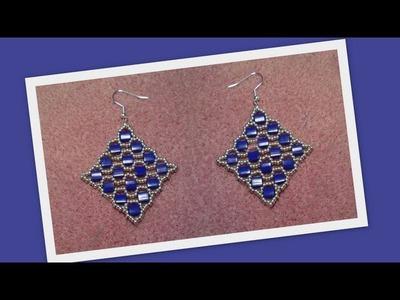Square Tila Earrings Beading Tutorial by Honeybeads1 (Photo tutorial)