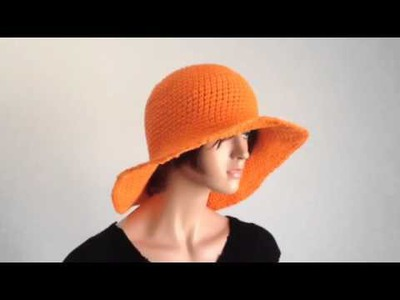Summer Project 1: Crochet Wide Brimmed Orange Cotton Hat