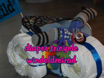 Tutorial diaper tricycle. Windeldreirad - DIY baby shower gifts