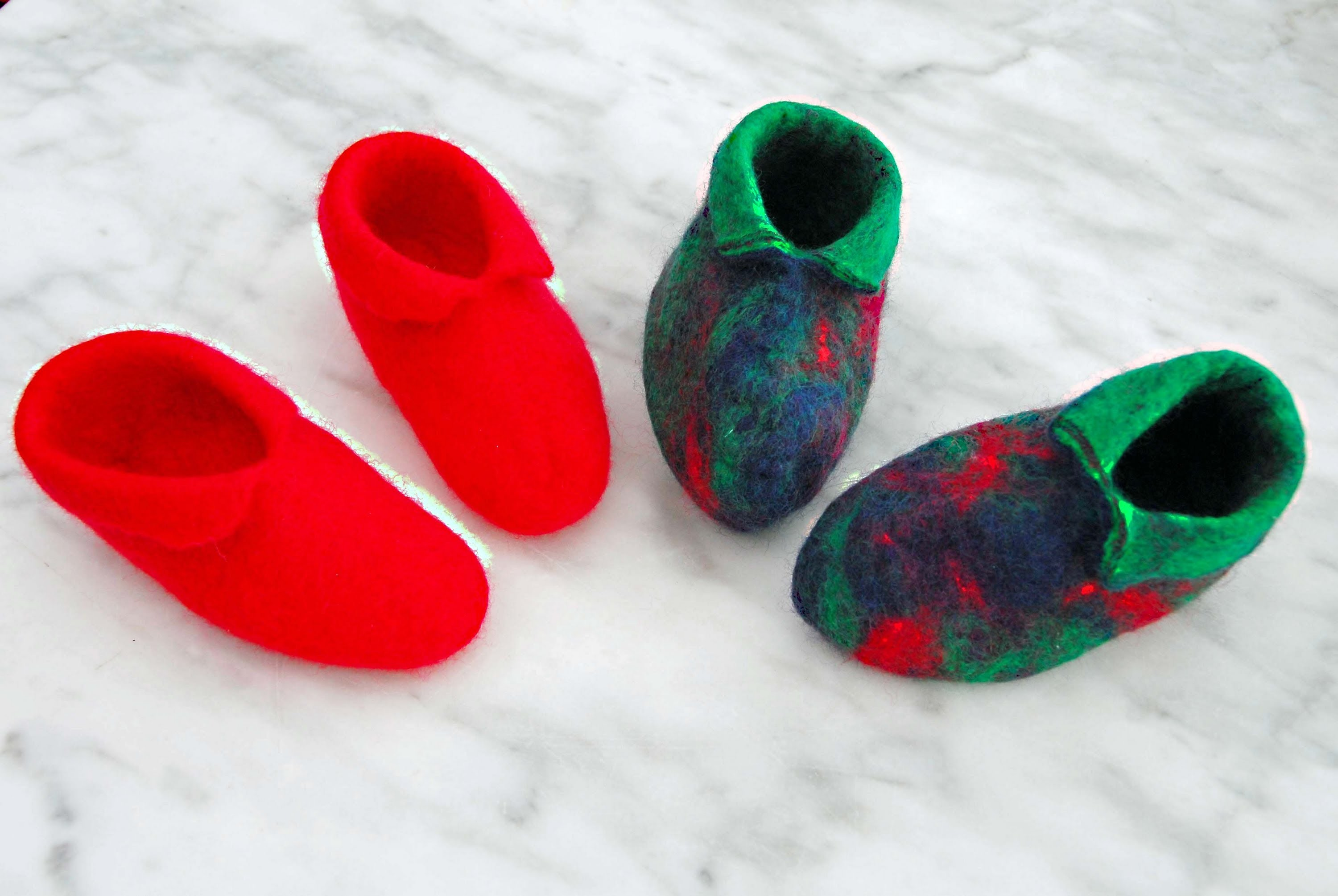 How to Wet Felt a pair of Baby Booties