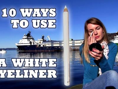 White Eyeliner! 10 White Eyeliner Uses! How to Brighten Eyes and Face.