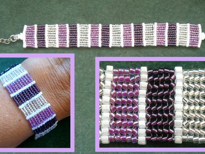 Beading4perfectionists : Stitch nr 8: Herring bone with delica's and 1mm cubes beading tutorial