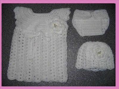 Crochet free pattern baby set 0-3 months.