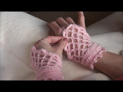 Crochet gloves,  romantische