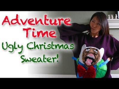 DIY Finn's Rage Face Ugly Christmas Sweater from Adventure Time