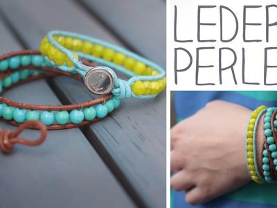 DIY Leder Perlen Armband zum Umwickeln - Knopf- oder Knotenverschluss