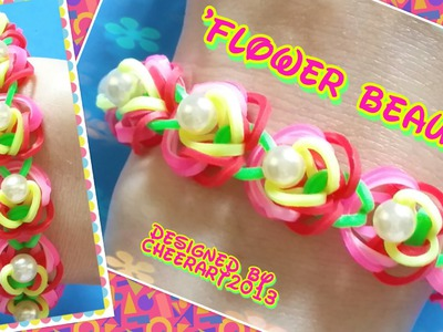 Diy loom bands 'Flower Beauty' bracelet with beads rainbow loom tutorial彩虹橡筋手繩教學