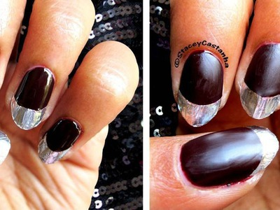 DIY Metallic french tip nails | tutorial