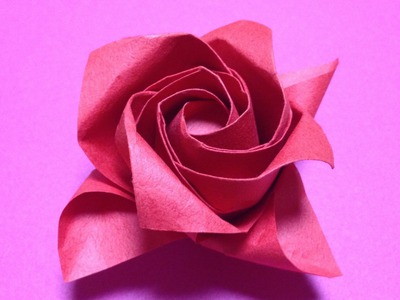 達人折りのバラの折り紙 14 Only one origami rose 14