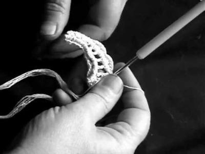 Irish Crochet Lace, leaf over padding cord Passion flower