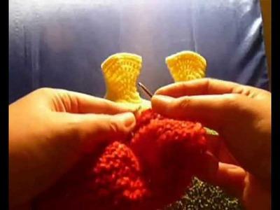 Как связать пинетки-сапожки на двух спицах - 13. How to knit baby booties shoes very easy - 13