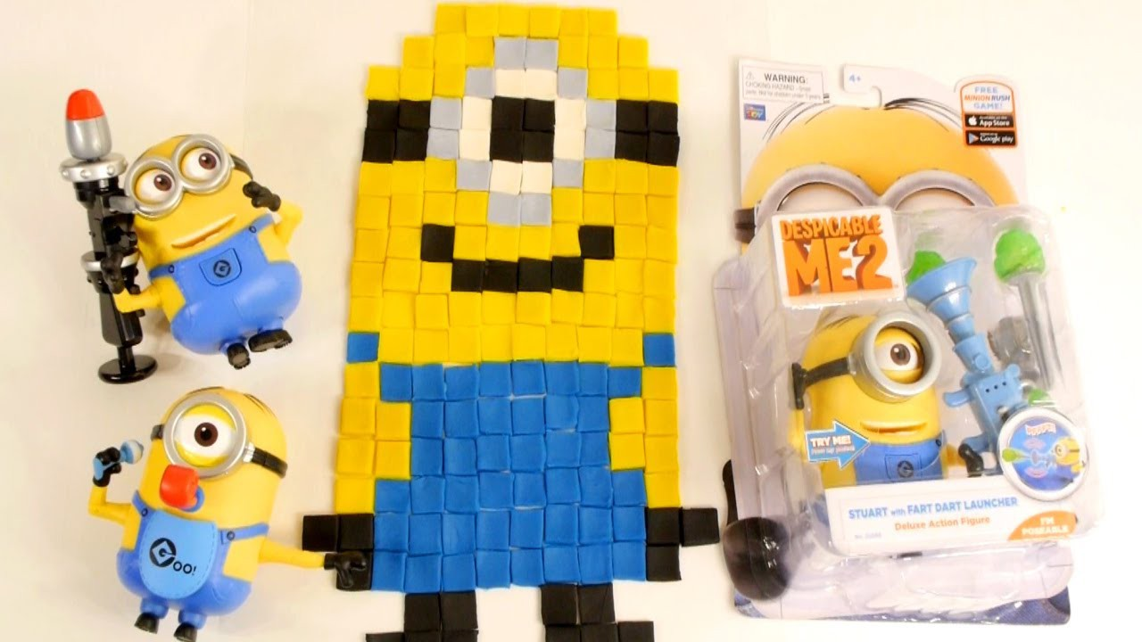 Play Doh Toy Minion Stuart Despicable Me 2 How To Make Playdough Minions DIY Tutorial Pixel Art