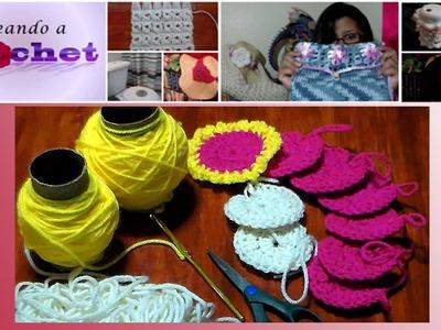 Union de Aplicaciones Redondas Tejidas  en Crochet- Parte 1 de 3
