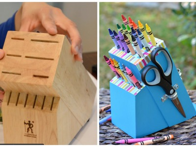 Upcycle an Old Knife Block into a DIY Crayon Holder - Easy DIY Crafts: Thrift Diving