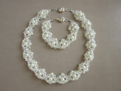 Wedding necklace and bracelet. Свадебное колье и браслет . Tutorial.