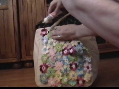 A BAG WITH CROCHET FLOWERS, purse, hand bag, tote bag
