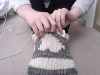 "Apple Mac knitted sock foot warmer - ""Sockintosh"""