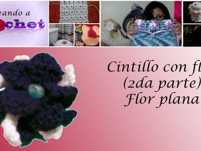 Cintillo con flor  (2da parte) -Flor plana -Tutorial de tejido crochet