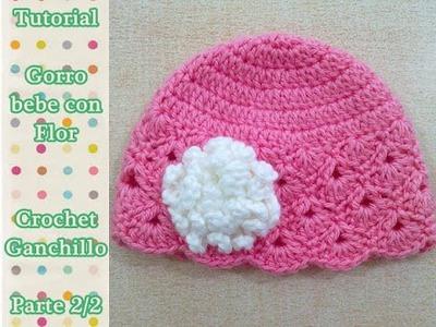 Como hacer gorro bebe con flor crochet ganchillo (2.2)