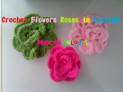 "Crochet in ENGLISH Flower ""Rosita"" Rose by Maricita Colours  Audio In English"