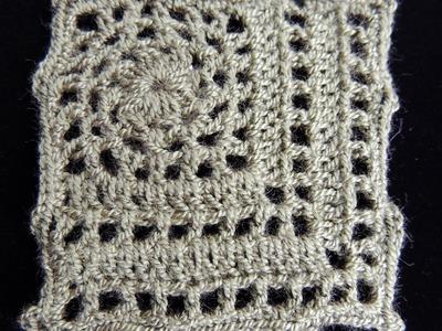 Crochet : Motivo #5. Cuadrado.  Parte 1 de 2