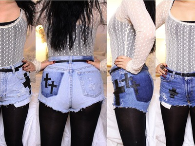 DIY: Destroyed Denim Cross Shorts (2 Styles: Dark. Light Wash)