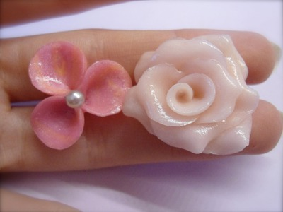 DIY Polymer clay: rose and a little flower. rosa e fiorellino!