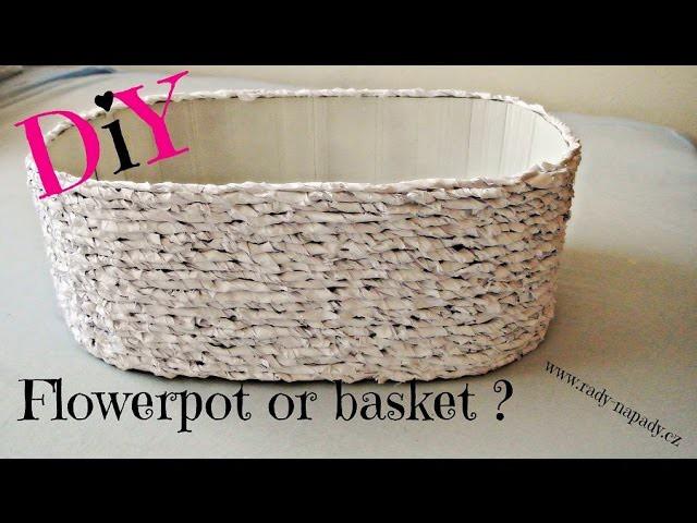 Košík x květnináč z kartonu (basket x flowerpot of cardboard) DiY