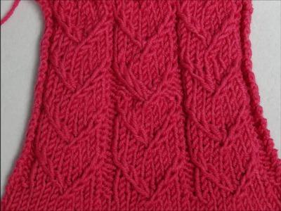 Strickmuster Herzen in Reihen mit Zugmaschen - Hearts with crossed stitches 1