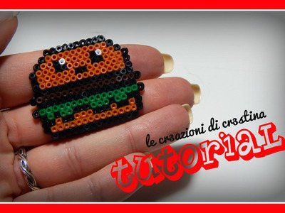 Tutorial Panino Kawaii Mc Donald's con Hamburger con Hama Beads - www.perlinedastirare.it